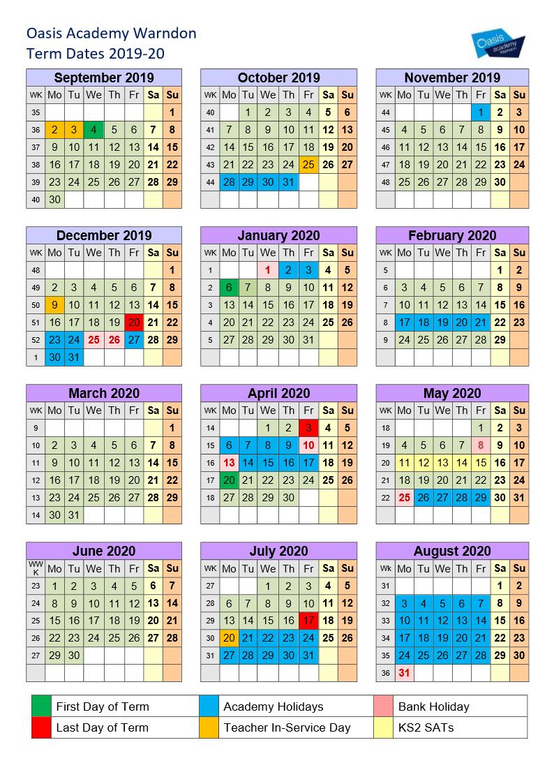 Easter 2020 Calendar.Term Dates Oasis Academy Warndon